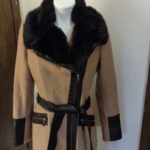 Via Spiga sz 8 faux fur/ faux leather vegan coat